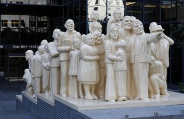 The Illuminated Crowd Statue in Montréal
